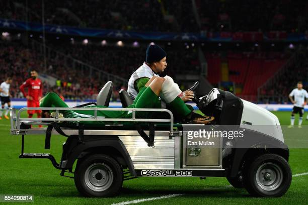 Loris Karius of Liverpool is taken off injured during the UEFA Champions League group E match between Spartak Moskva and Liverpool FC at Otkrytije...