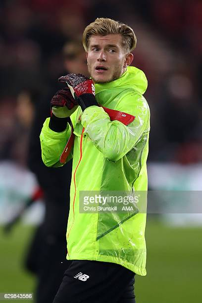 Loris Karius of Liverpool looks on ahead of the Barclays Premier League match between Middlesbrough and Liverpool at the Riverside Stadium on...