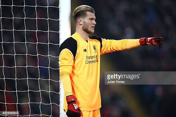 Loris Karius of Liverpool looks on during the EFL Cup SemiFinal Second Leg match between Liverpool and Southampton at Anfield on January 25 2017 in...