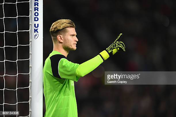 Loris Karius of Liverpool looks on during the EFL Cup Third Round match between Derby County and Liverpool at iPro Stadium on September 20 2016 in...