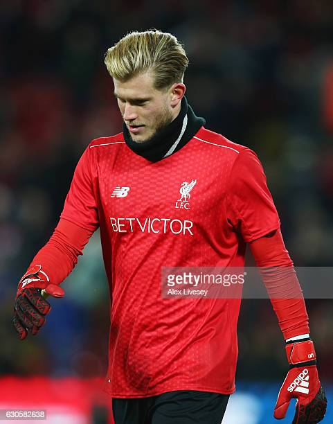 Loris Karius of Liverpool looks on prior to the Premier League match between Liverpool and Stoke City at Anfield on December 27 2016 in Liverpool...