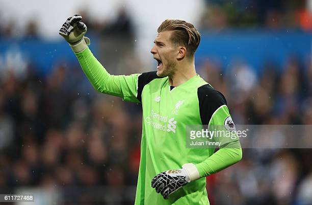 Loris Karius of Liverpool reacts during the Premier League match between Swansea City and Liverpool at Liberty Stadium on October 1 2016 in Swansea...