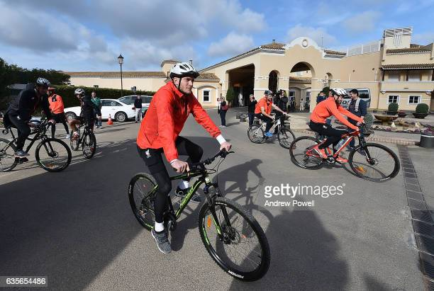 Loris Karius of Liverpool sets off on a bike for the training session at La Manga on February 16 2017 in La Manga Spain