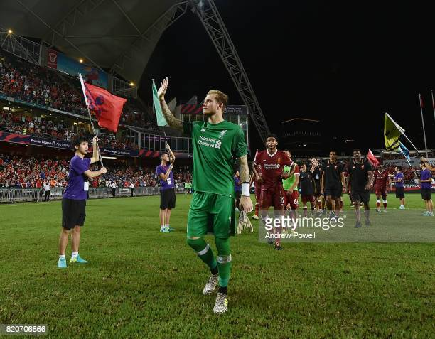 Loris Karius of Liverpool shows his appreciation to the fans at the end of the Premier League Asia Trophy match between Liverpool FC and Leicester...