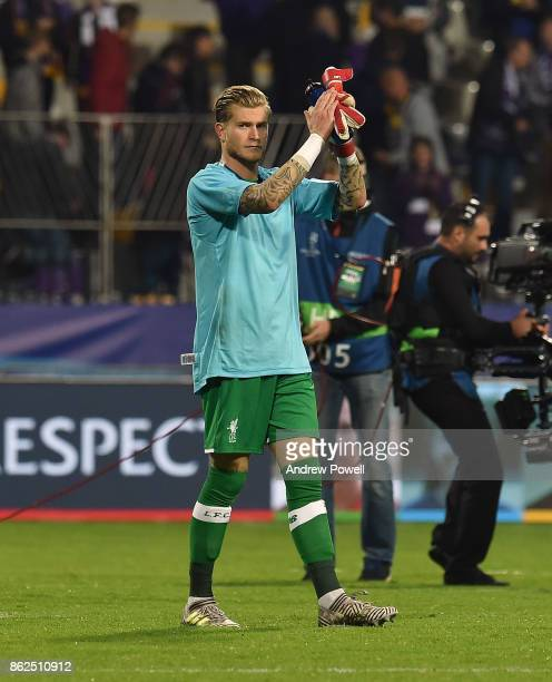 Loris Karius of Liverpool shows his appreciation to the fans at the end of the UEFA Champions League group E match between NK Maribor and Liverpool...