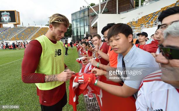 Loris Karius of Liverpool signing autographs at the end of a training session on July 21 2017 in Hong Kong Hong Kong