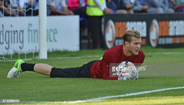 Loris Karius of Liverpool warms up before during the pre season friendly between Tranmere Rovers and Liverpool at Prenton Park on July 12 2017 in...