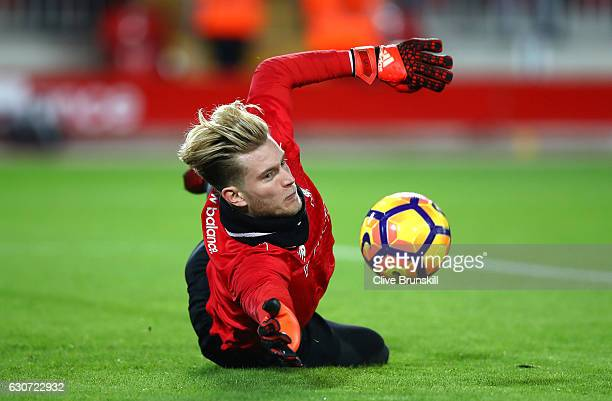 Loris Karius of Liverpool warms up during the Premier League match between Liverpool and Manchester City at Anfield on December 31 2016 in Liverpool...
