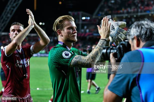Loris Karius of Liverpool waves to the fans at the Premier League Asia Trophy match after defeating Leicester City FC 21 in the final at Hong Kong...