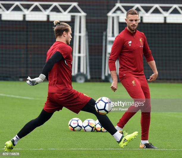 Loris Karius with Jordan Henderson of Liverpool during a training session at Melwood Training Ground on August 10 2017 in Liverpool England