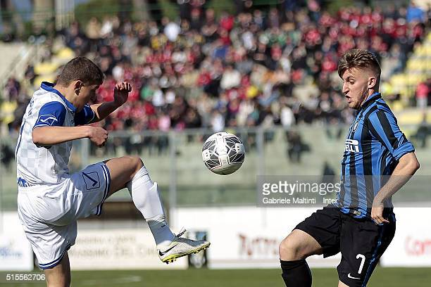 Loris Zonta of FC Internazionale in action during the Viareggio Juvenile Tournament match between FC Internazionale and Akademija Pandev on March 14...