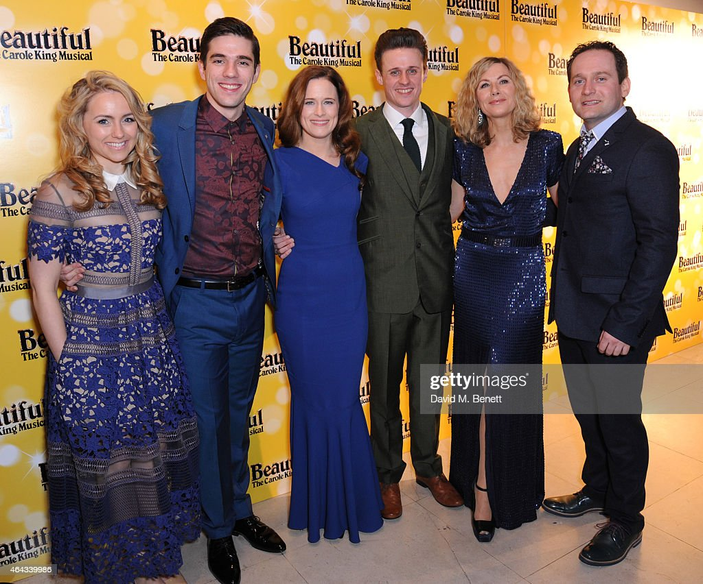 Lorna Want, Ian McIntosh, Katie Brayben, Alan Morrissey, Glynis Barber and Gary Trainor attend an after party following the press night performance of 'Beautiful: The Carole King Musical', playing at the Aldwych Theatre, at the Somerset House on February 24, 2015 in London, England.