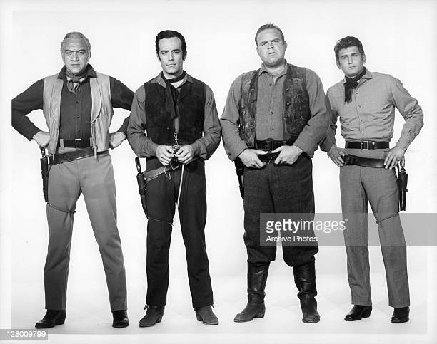 Lorne Greene And Pernell Roberts with others in a scene from the film 'Bonanza' 19591973