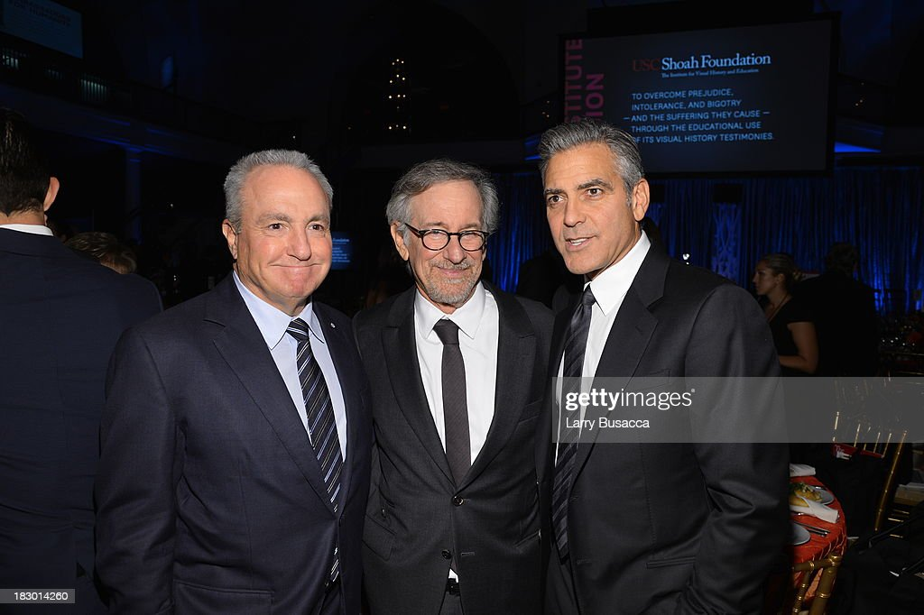<a gi-track='captionPersonalityLinkClicked' href=/galleries/search?phrase=Lorne+Michaels&family=editorial&specificpeople=207010 ng-click='$event.stopPropagation()'>Lorne Michaels</a>, <a gi-track='captionPersonalityLinkClicked' href=/galleries/search?phrase=Steven+Spielberg&family=editorial&specificpeople=202022 ng-click='$event.stopPropagation()'>Steven Spielberg</a>, and <a gi-track='captionPersonalityLinkClicked' href=/galleries/search?phrase=George+Clooney&family=editorial&specificpeople=202529 ng-click='$event.stopPropagation()'>George Clooney</a> attend the USC Shoah Foundation Institute 2013 Ambassadors for Humanity gala at the American Museum of Natural History on October 3, 2013 in New York, New York.