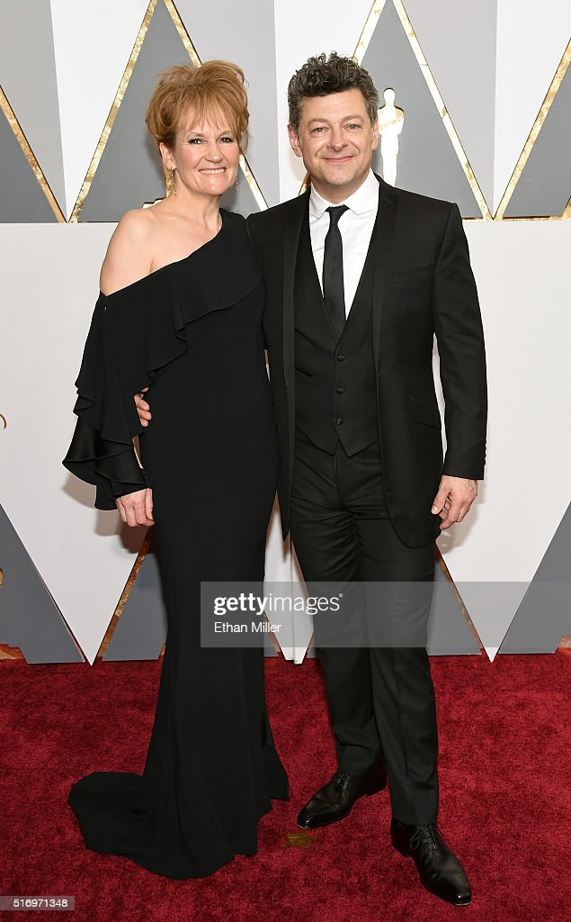 Lorraine Ashbourne (L) and actor Andy Serkis attend the 88th Annual Academy Awards at Hollywood & Highland Center on February 28, 2016 in Hollywood, California.