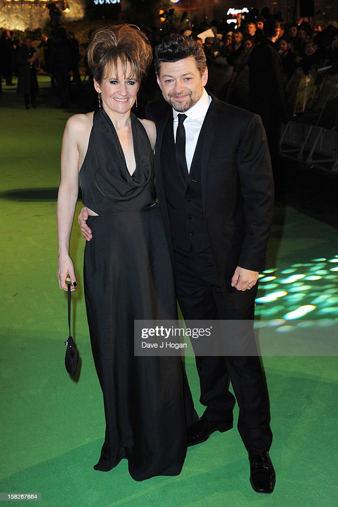 Lorraine Ashbourne and Andy Serkis attend a royal film performance of 'The Hobbit: An Unexpected Journey' at The Empire Leicester Square on December 12, 2012 in London, England.
