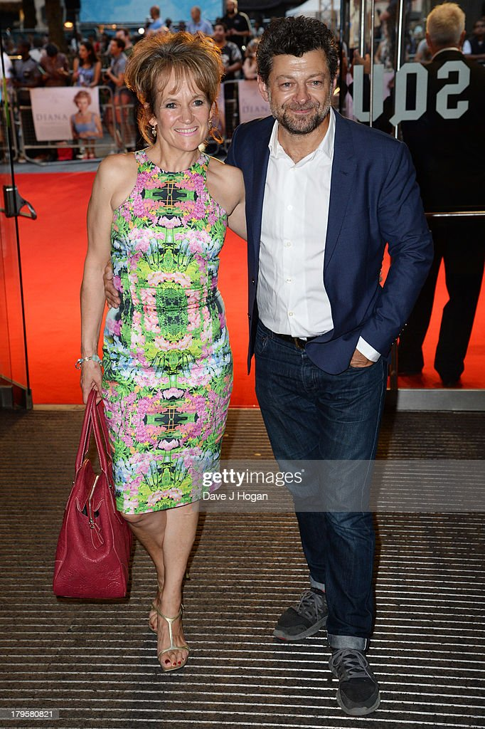 Lorraine Ashbourne and Andy Serkis attend the world premiere of 'Diana' at The Odeon Leicester Square on September 5, 2013 in London, England.