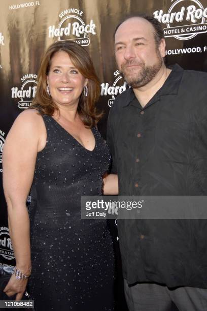 Lorraine Bracco and James Gandolfini during Bada Bang 'The Sopranos' Final Episode Viewing and Party at The Seminole Hard Rock Hotel and Casino in...