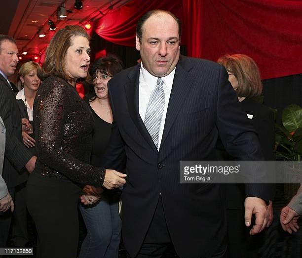 Lorraine Bracco and James Gandolfini during The Sopranos Cast Press Conference and Photocall at Atlantic City Hilton March 25 2006 at Atlantic City...