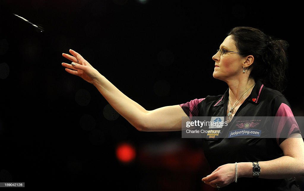 Lorraine Farlam of England in action during her Quarter Final match against Anastasia Dobromyslova of Russian on day two of the BDO Lakeside World Professional Darts Championships at Lakeside Country Club on January 06, 2013 in London, England.