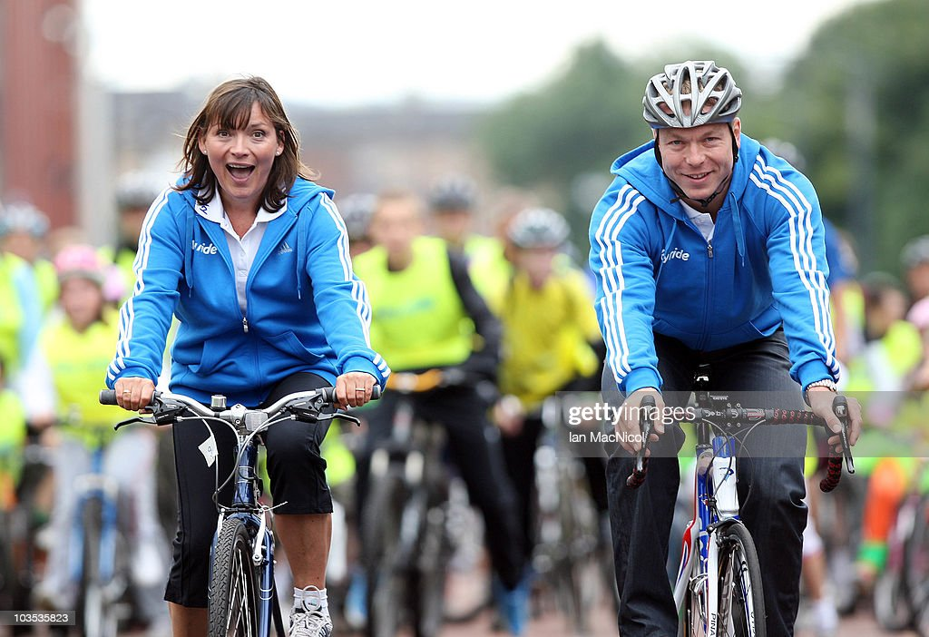 Lorraine Kelly and Sir Chris Hoy join riders who are participating in the SkyRide event on August 22 2010 in Glasgow Scotland Skyride encourages...