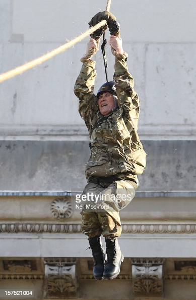Lorraine Kelly helps launch the 2012 Christmas Box Campaign by Zip Wiring her way down from Wellington Arch on December 4 2012 in London England