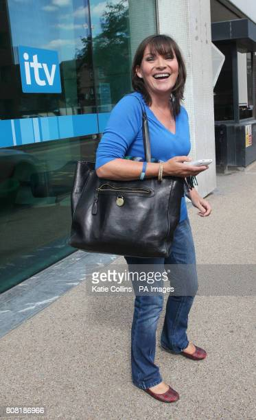 Lorraine Kelly leaves ITV in London today after the press launch for their new morning show Daybreak which stars Adrian Chiles and Christine Bleakley