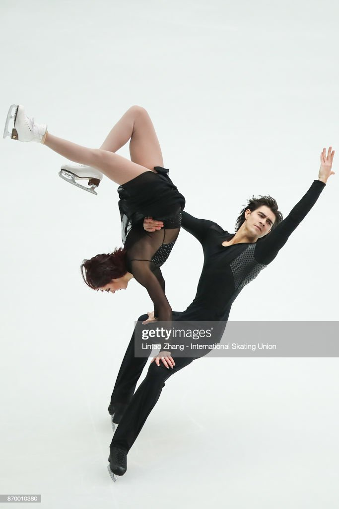 Lorraine Mcnamara and Quinn Carpenter of the United States reacts after compete in the Ice Dance Free Dance on day two of Audi Cup of China ISU Grand Prix of Figure Skating 2017 at Beijing Capital Gymnasium on November 4, 2017 in Beijing, China.