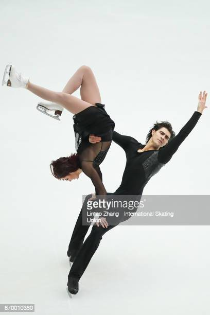 Lorraine Mcnamara and Quinn Carpenter of the United States reacts after compete in the Ice Dance Free Dance on day two of Audi Cup of China ISU Grand...