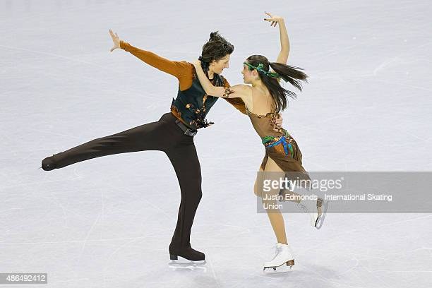 Lorraine Mcnamara and Quinn Carpenter of United States skate during the junior dance short program at World Arena on September 4 2015 in Colorado...
