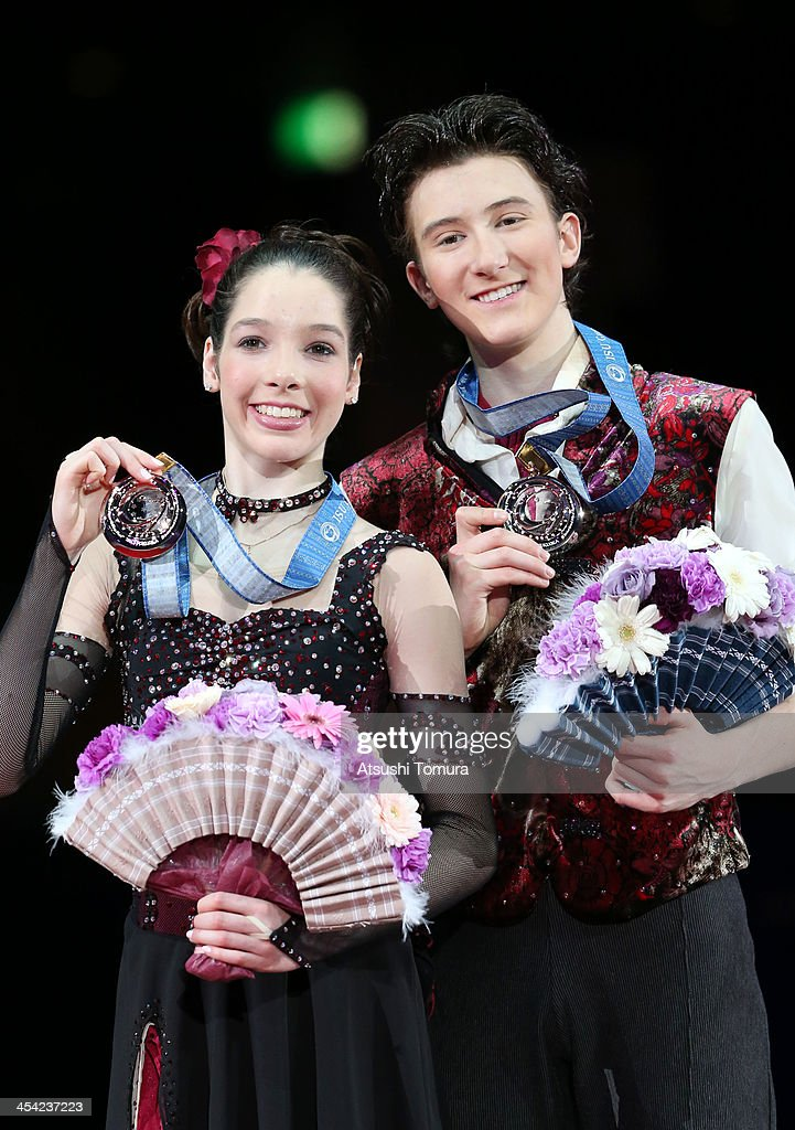Lorraine Mcnamara and Quinn Carpenter of USA pose with their medals during the victory ceremony for the junior ice dance during day four of the ISU Grand Prix of Figure Skating Final 2013/2014 at Marine Messe Fukuoka on December 8, 2013 in Fukuoka, Japan.
