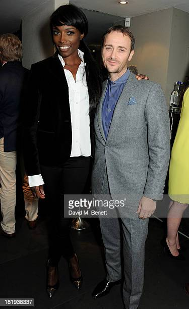 Lorraine Pascale and Jason Atherton attends the Sky Living rebrand dinner at the Greenhouse Restaurant on September 26 2013 in London England