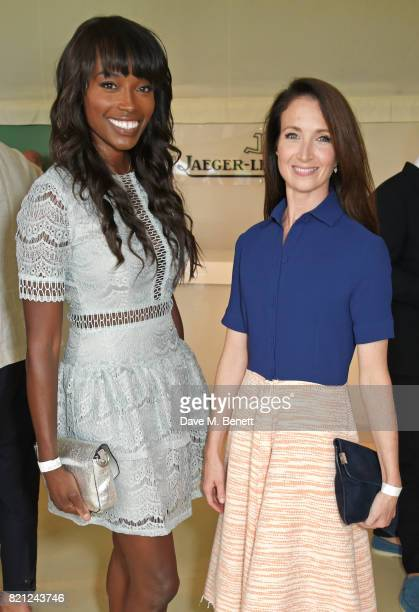 Lorraine Pascale and Lauren Cuthbertson attend the JaegerLeCoultre Gold Cup Polo Final at Cowdray Park on July 23 2017 in Midhurst England