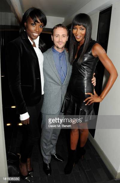 Lorraine Pascale Jason Atherton and Naomi Campbell attends the Sky Living rebrand dinner at the Greenhouse Restaurant on September 26 2013 in London...