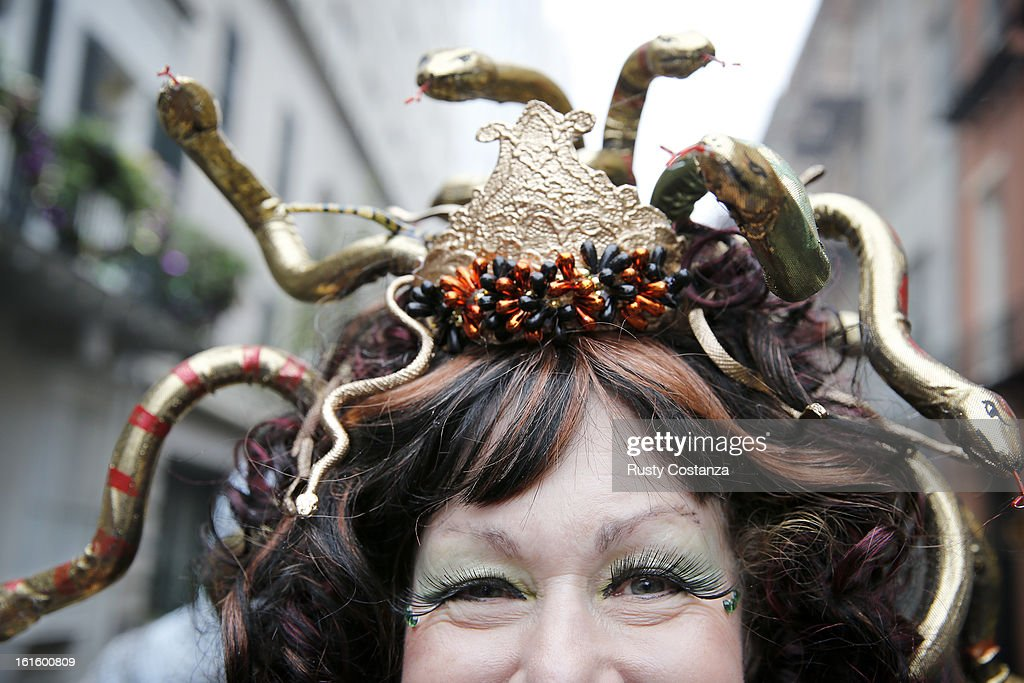 Lorraine Summers of New Orleans is dressed as Medusa on Mardi Gras Day in the French Quarter. (Fat Tuesday, the traditional celebration on the day before Ash Wednesday and the begining of Lent, is marked in New Orleans with parades and marches through many neighborhoods in the city.