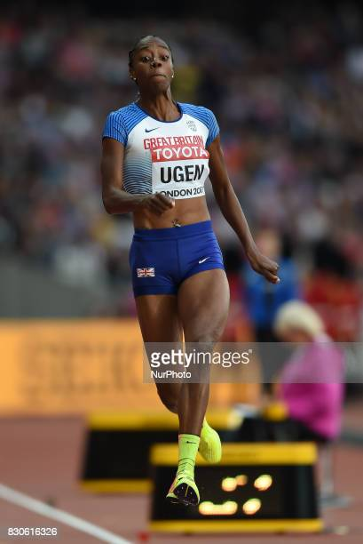 Lorraine Ugen of Great Britain jumps in the long jump final in London at the 2017 IAAF World Championships athletics at the London Stadium in London...