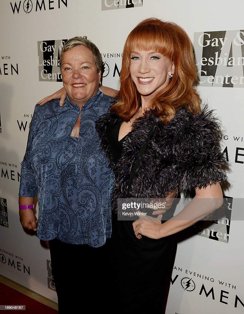 Lorrie Jean, CEO, L.A. Gay & Lesbian Center (L) and comedian Kathy Griffin arrive at An Evening With Women benefiting The L.A. Gay & Lesbian Center at the Beverly Hilton Hotel on May 18, 2013 in Beverly Hills, California.