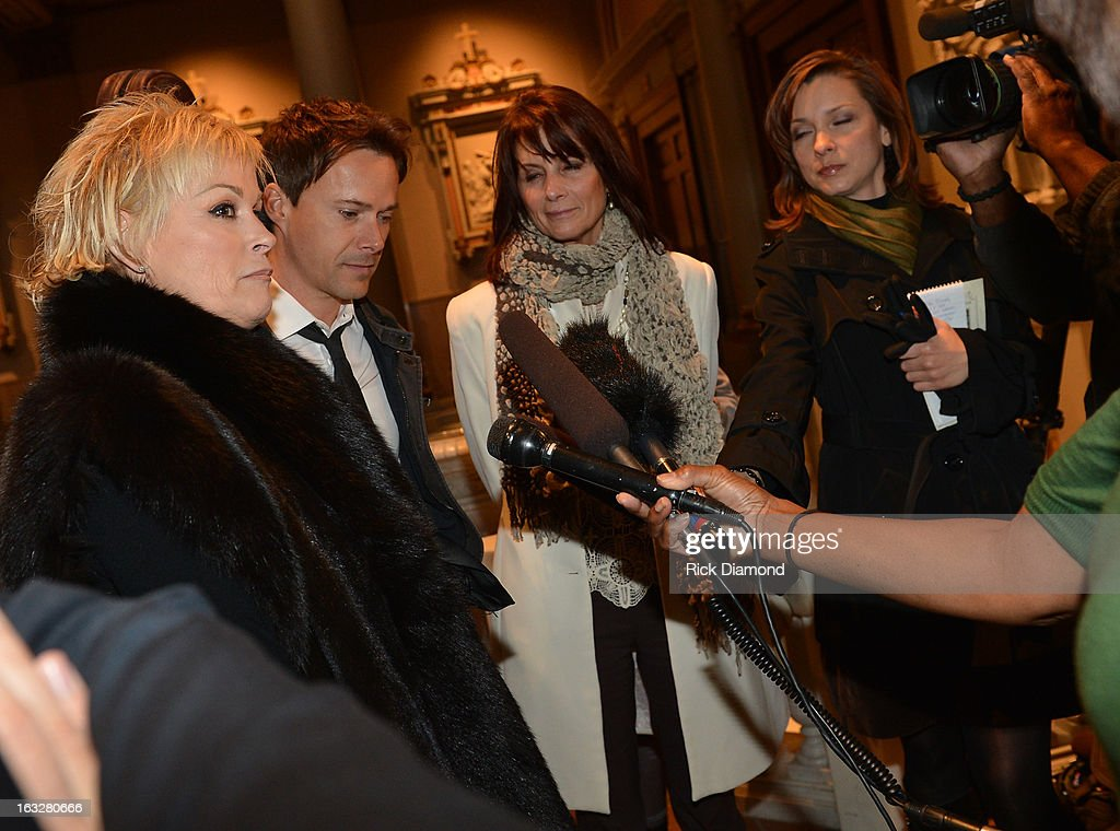 Lorrie Morgan, Bryan White and Cat Atwood answer press questions after the memorial service for Mindy McCready at Cathedral of the Incarnation on March 6, 2013 in Nashville, Tennessee. McCready was found dead from an apparent suicide on February 17, 2013 at her home in Heber Springs, Arkansas.