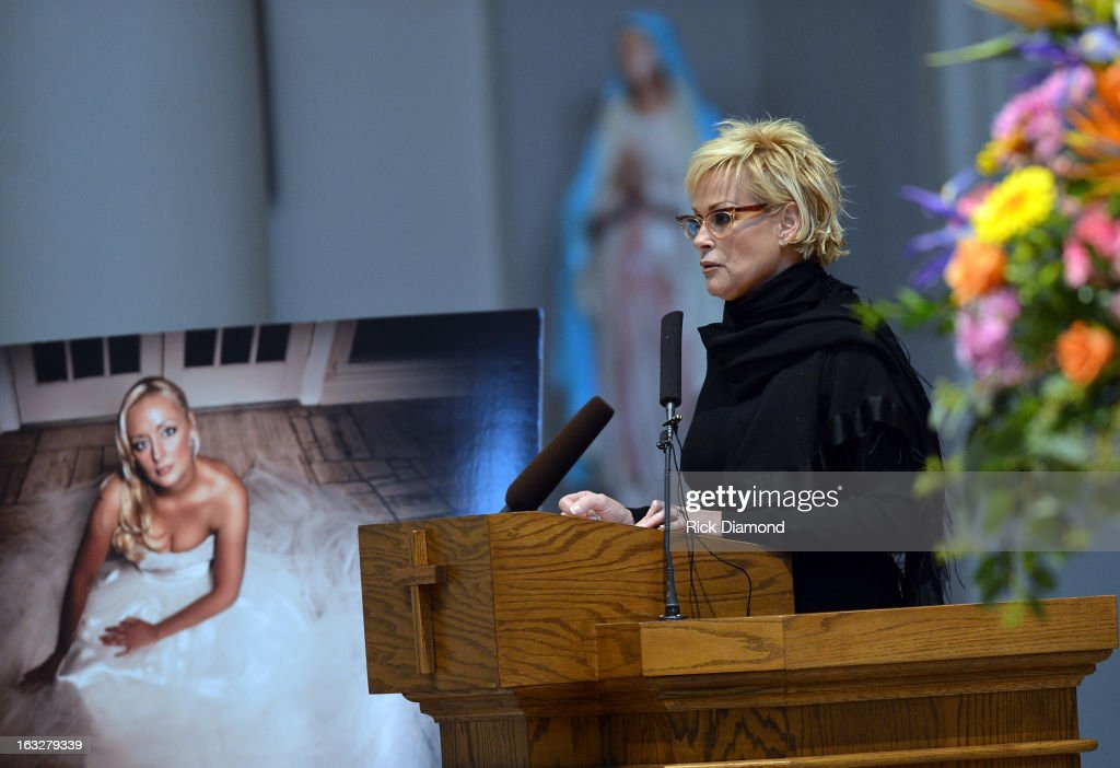 Lorrie Morgan speaks during the memorial service for Mindy McCready at Cathedral of the Incarnation on March 6, 2013 in Nashville, Tennessee. McCready was found dead from an apparent suicide on February 17, 2013 at her home in Heber Springs, Arkansas.