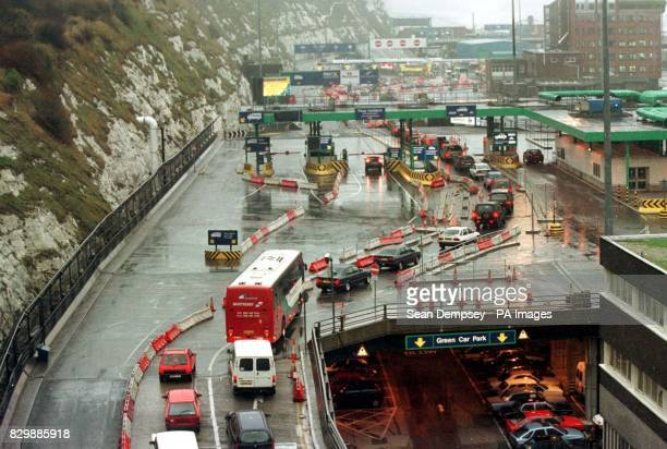 Lorries and cars queue for the ferry service at Dover after a fire broke out in the Chanel Tunnel last night Le Shuttle customers were diverted to...