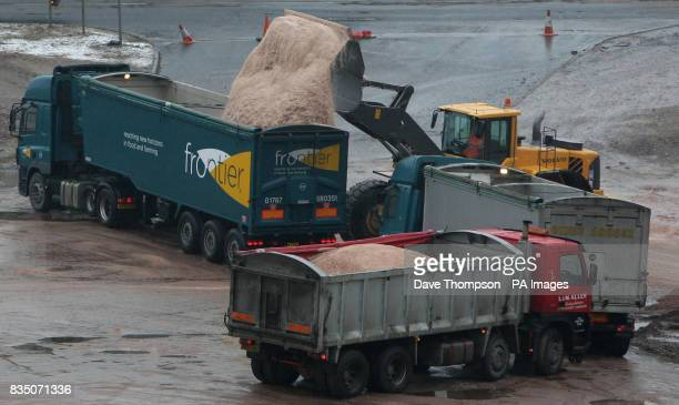 Lorries are loaded with rock salt at Winsford Salt Mine Winsford Cheshire