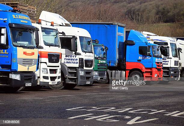 Lorries are parked up at a service station on the M4 motorway on March 7 2012 near Chepstow Wales Campaigners for fairer fuel prices were expected to...