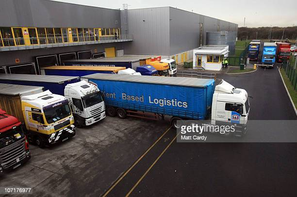 Lorries deliver and collect loads at the Amazon Swansea fulfilment centre as it prepares for what is expected to be their busiest Christmas on record...