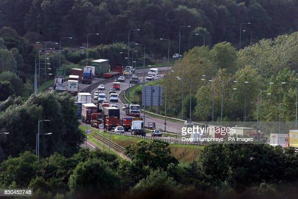 Lorries drive slowly along the A1 near Gateshead Tyne and Wear blocking the road in protest against high fuel prices