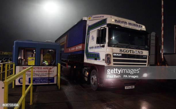 Lorries from Scotland carrying 160000 litres of bottled water arrive at Larne harbour as tens of thousands of homes and businesses are still without...