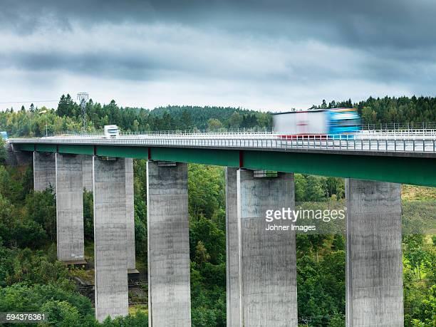 Lorries on elevated road