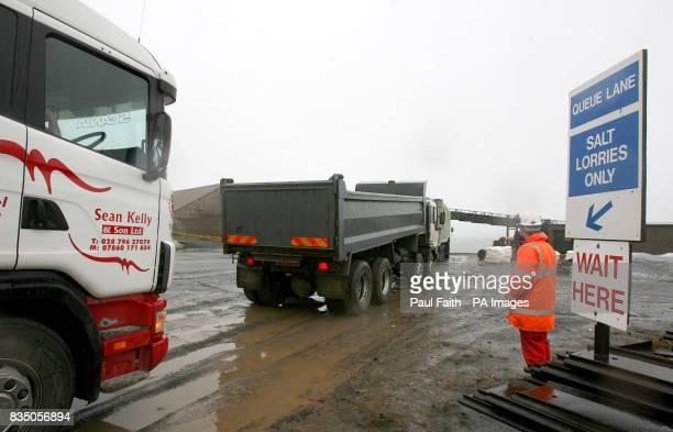 Lorries queue at the Irish Salt Mining Exploration Co site in Kilroot Carrickfergus Co Antrim The company has been mining DeIcing Rock Salt since...