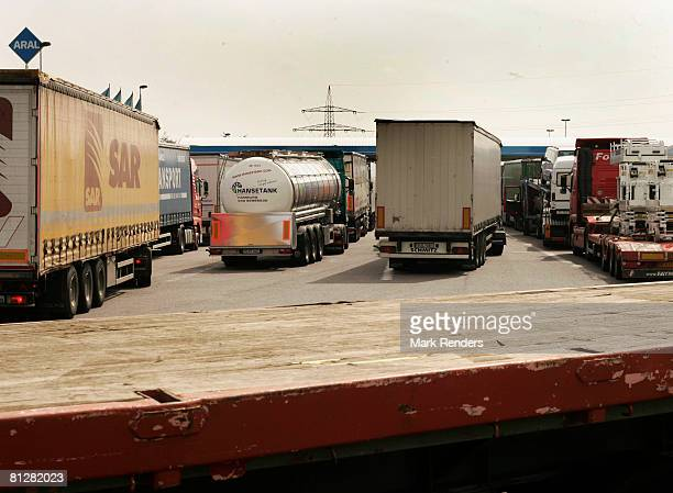 Lorries queue to refuel with diesel onb the forecourt of a fuel station on May 29 2008 in Luxembourg city Customers are driving up to 100 km from...