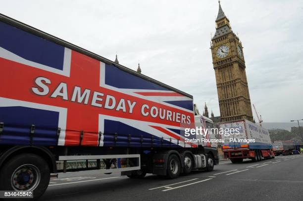 Lorries travel through Westminster today protesting at high fuel prices