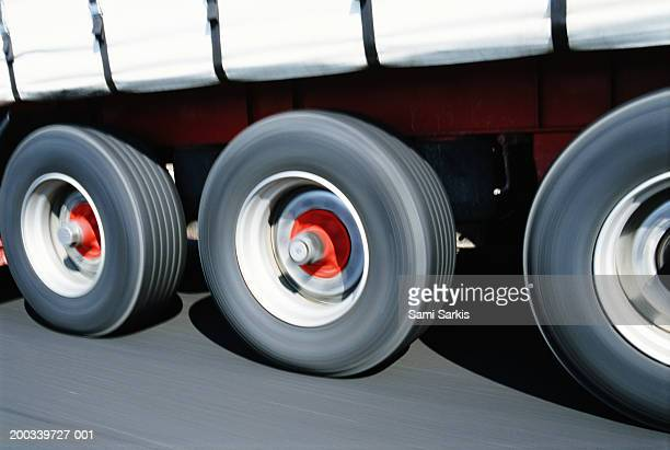 Lorry, close-up of wheels (blurred motion)